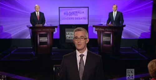 Moderator David Speers at the start of the 2013 Australian Leaders' Debate
